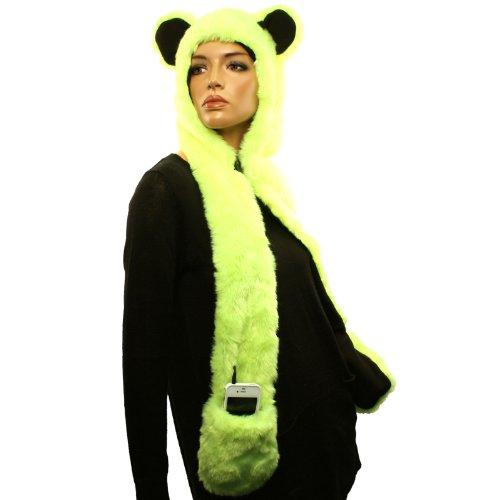 With Headphones Speaker Winter Faux Animal Fur Trapper Pocket Ski Hat Cap Yellow