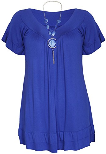 Generic Women's Plus Frill Necklace Gypsy Short Sleeve V Neck Tunic Top