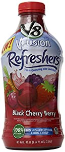V8 V-Fusion Refreshers Black Cherry Berry Juice, 46 Ounce Bottle (Pack of 6)