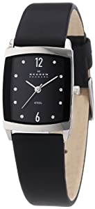 Skagen Women's 691SSLB Black Dial Swarovski Elements Black Leather Band Watch