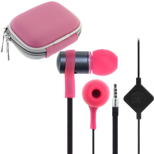 Ikross Pink / Black In-Ear 3.5Mm Noise-Isolation Stereo Flat Cable Tangle Free Earbuds With Microphone + Pink Headset Case For Google Nexus 10 2, Nexus 7 Ii Tablet Cellphone Smartphone And More