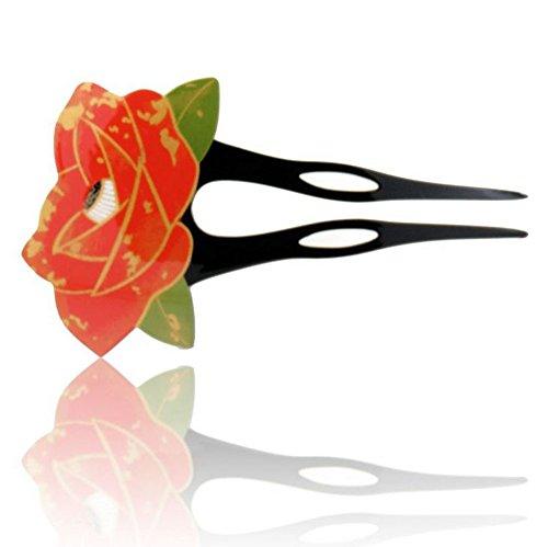 バチ型かんざし 簪 上品な 椿の花 + お手入れクロス 2点セット まとめ髪 髪飾り 振袖 留袖 訪問着 ワンピースにも