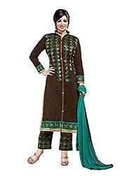 Brown colour embroidered chanderi fabric semi stich churidar dress material