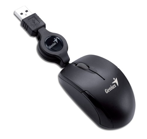 Genius Micro Traveler USB Retractable Black Most Mobile and Super Mini Notebook Mouse