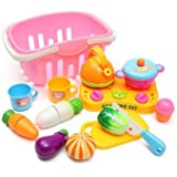 13PCS Vegetable Cutting Pieces Kids Pretend Role Play Basket Kitchen Cutting Set Toy