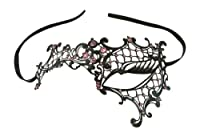 Kayso Inc Signature Phantom of the Opera Venetian Laser Cut Masquerade Mask, Reverse Black w/ Pink Stones