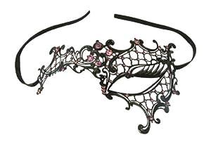 Kayso Inc Signature Phantom of the Opera Venetian Laser Cut Masquerade Mask, Reverse Black w/ Pink Stones