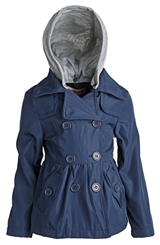 Urban Republic Girls Belted Spring Rain Trenchcoat Jacket with Detachable Hood - Navy (Size 2T)