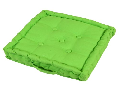 Homescapes - Plain Green - 100% Cotton - Floor Cushion - Lime Bright Green - 40 x 40 x 10 cm Square - Indoor - Garden - Dining Chair Booster - Seat Pad Cushion