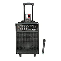 Pyle-Pro PWMA940BTI 600 Watts VHF Wireless Portable PA System w/Microphone,i-Pod Dock & Bluetooth