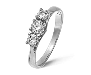 Ariel 18ct White Gold Trilogy Ring by Ariel, H/SI1 Certified Diamonds, Round Brilliant, 0.50ct