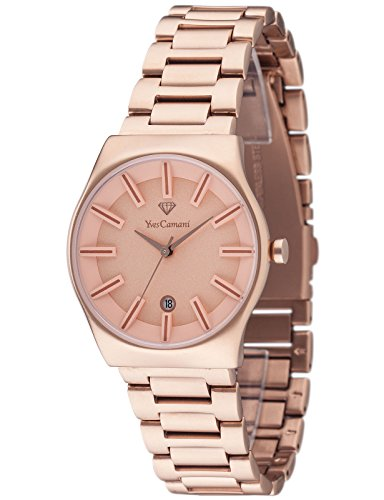 Yves Camani Louanne Women's Quartz Watch with Rose Gold Dial Analogue Display and Rose Gold Stainless Steel Bracelet Yc1079-G