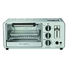 Waring Pro WTO150 4-Slice Toaster Oven with Built-In 2-Slice Toaster