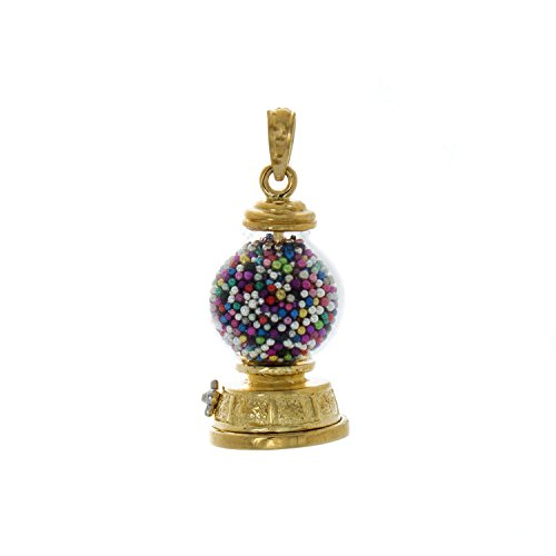 14k Yellow Gold Novelty Charm Pendant, 3-D Gumball Machine, Moveable