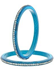 Nice Blue Bangle Set For Women (Pack Of 4) - Size 2.6