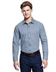 Autograph Pure Cotton Mini Checked Slim Fit Shirt