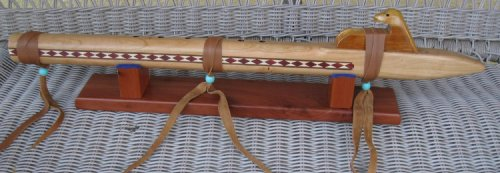 Native American Flute - Handmade Quilted Cherry - High Quality.... with stand, travel bag and book