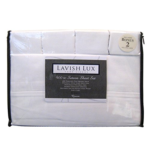 Lavish Lux Hotel Collection 400 Thread Count 100 % Cotton Sateen 6 PC Sheet sets, White, King (Hotel Sheets King compare prices)