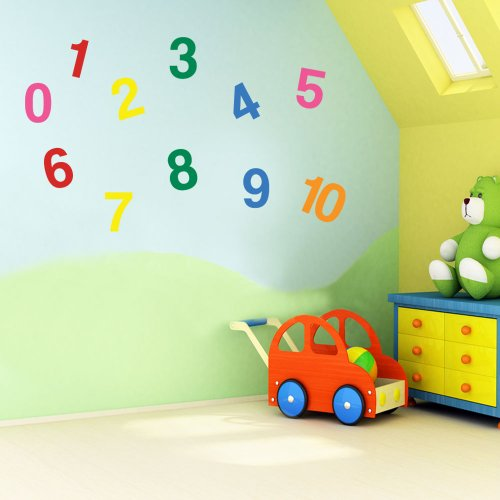 Vinyl Concept - Children's Wall Stickers, Nursery Numbers, 1 To 10 Wall , Kids Removable, Easy To Remove, Kids Wall Stickers, Art Mural, Art Decor, Sticker Diy Deco : Mixed As Pictured -- Large