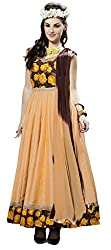 Khoobee Presents South Cotton Anarkali Dress Material(Beige)