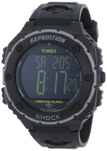 Timex Men's T499509J Expedition Shock XL Vibrating Alarm Black Resin Strap Watch