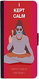 Snoogg Shiva He Kept Calm Graphic Snap On Hard Back Leather + Pc Flip Cover S...