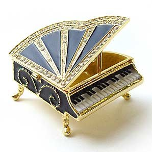 Black Piano Keepsake Box Swarovski Crystals 24K Gold Jewelry Trinket Pill Box Musical Instrument Figurine Certificate of Authenticity