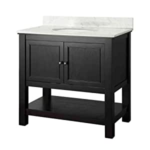 foremost gaeaca3722 gazette 37 inch width x 22 inch depth vanity with carrara marble top. Black Bedroom Furniture Sets. Home Design Ideas
