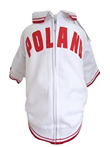 The Mutley Collection Poland Olympic Soccer Warm-Up Track Jacket for Dogs, Medium