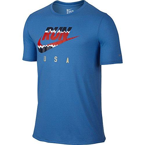 Men's Nike Running T-Shirt Photo Blue Size Small
