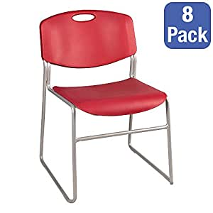 Norwood Commercial Furniture Heavy Duty Plastic Stacking Chair W Red Seat