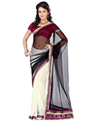 Deepika Saree Faux Georgette Black And Off White Saree With Blouse