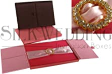 buy Perfect-In-Pink Romantic Silk Invitation Box With Rhinestone Crystal Brooch
