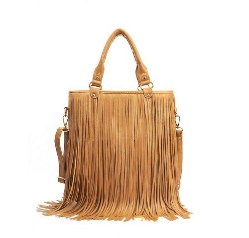 women brown fringe purse37% OFF   Best Deal Brown Leather Punk Tassel Fringe Handbag zX2t6JA7