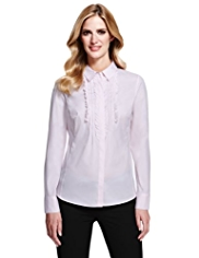 M&S Collection No Peep™ Frilled Shirt