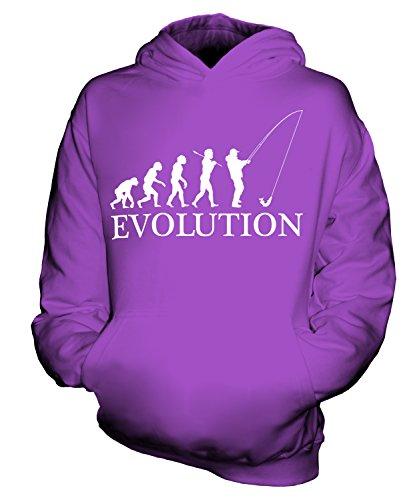CandyMix Angeln Fischfang Evolution Des Menschen Unisex Kinder Jungen/Mädchen Kapuzenpullover, Größe 9-11 Jahre, Farbe Violett