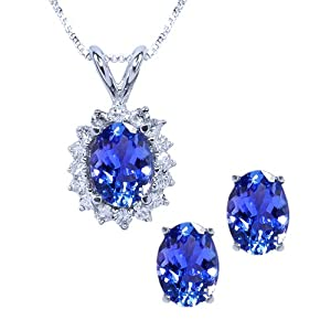 3.12 Ct Oval Tanzanite & Diamond Solid 14K White Gold Pendant Earring Set 18""