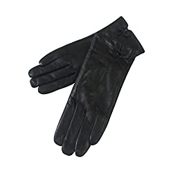 Genuine Black Leather Ladies Gloves with Small bow (Motique Accessories)