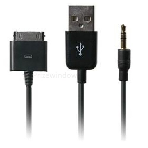 Audiokabel mit 3,5 mm Klinke + Ladekabel + USB für alle Apple iPod, iPad, Farbe: SCHWARZ