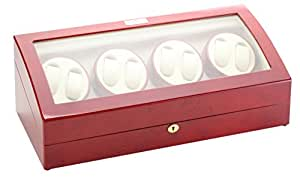 Diplomat Cherry Wood Eight Watch Winder with Off-White Leather Interior
