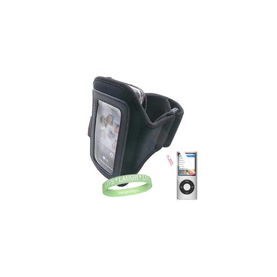 Apple iPod nano (5th Generation) NEWEST MODEL Premium Ipod Accessory Kit For ( Ipod Nano 8 GB, Ipod Nano 16 GB ) includes Black Athletic Sports Armband skin Cover case + Nano 5th generation Screen Protector + Vangoddy ?, Live*Laugh*Love wrist band  MP