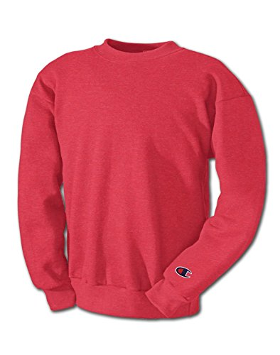 Champion Men`s Double Dry Eco Fleece Crew, S600, XL, Scarlet Heather