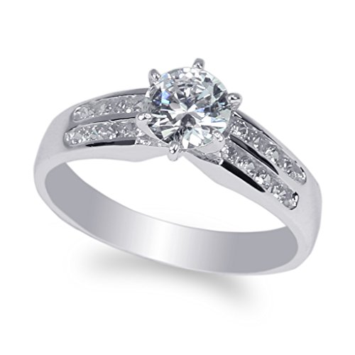 JamesJenny-14K-White-Gold-07ct-Round-CZ-Channel-Solitaire-Ring-Size-4-10