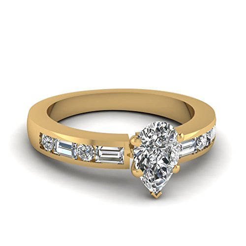 Fascinating Diamonds 1.20 Ct Pear Shaped Flawless Diamond Bedazzled Engagement Ring G-Color 14K Gia
