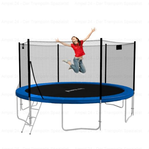 Ampel24 Trampolin mit Leiter und Netz, 430 cm