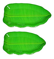 Hua You Banana Leaf Shape South Indian Dinner Lunch Serving Melamine Platter Plate For All Occasions - 2 Pcs (1 No. 16 inch & 1 No. 14 inch Plate)