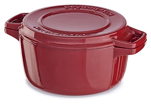 KitchenAid KCPI60CRER Professional Cast Iron 6-Quart Casserole Cookware - Empire Red (Kitchenaid Professional Cookware compare prices)