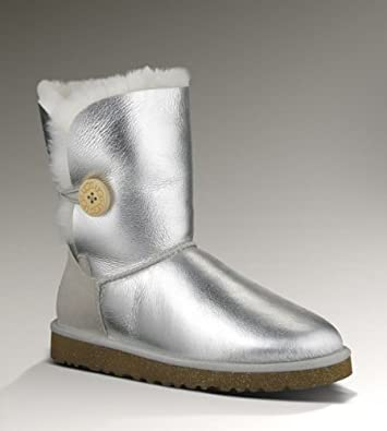 UGG Australia Womens Bailey Button Boot Silver Size 5