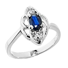 buy Dainty White Gold Diamond-Accented 3-Stone Blue Sapphire Proposal Ring (Size 4)