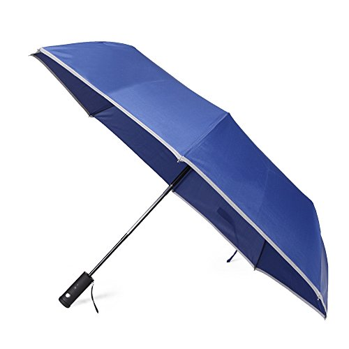 Yitote Windproof Travel Umbrellas with Extra Rotating Flashlight Reflective Stripe Edge Safety in the Dark, Automatic Open Close - Blue